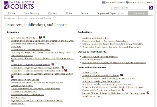 WA Courts webpage resources.